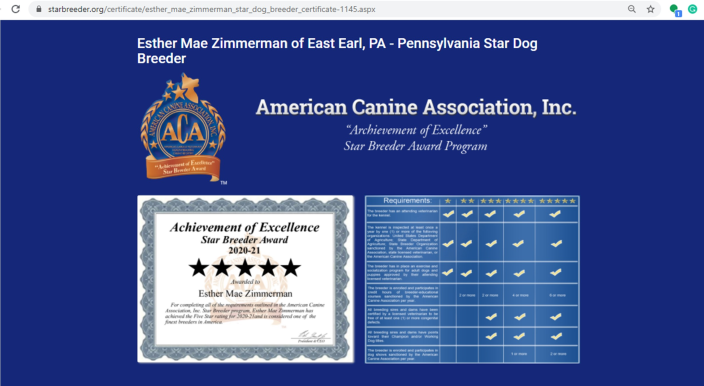 govt, records, usda, esther, mae, zimmerman, dog, breeder, ester, esther-mae, may. dog-breeder, 23-a-0268, 23a0268, east, earl, pa, pennsylvania, puppies, for, sale, dogbreeder, kennel, usda, inspection, reports, puppy, mill, puppymill, show, reviews