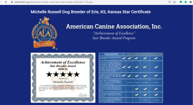 michelle, russell, dog, breeder, star, cert, michelle-russell, dog-breeder, erie, ks, kansas, star, certificate, yorkshire, daschund, puppy, mill, puppymill, usda, 48-A-1869, 48a1869. inspection, records, kennel