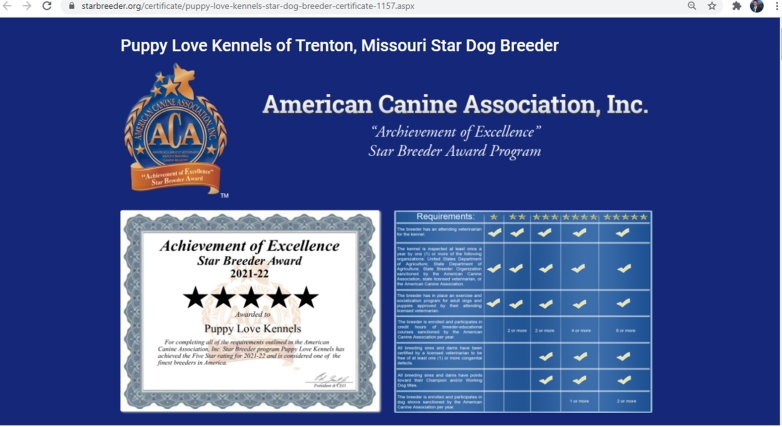 puppy, love, kennels, star, inspection, records, dog, breeder, about, information, history, puppy-love-kennels, trenton, MO, Missouri, dog-breeder, puppy, dogs, kennels, mill, puppymill, usda, 5-star, ACA, ICA, registered, show, hander, cocker, spaniel, cockapoo, 43A6314, 43-A-6314