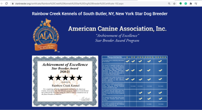 Rainbow, Creek, Kennel, certificate, star, rainbow_creek_kennel, rainbowcreeksouth, butler, ny, new york, breeder, dog, star star-breeder, starbreeder, 5 star, dogs, puppy, puppies, 21-A-0179, 21a0179, kennels, ACA, American, canine, association, dogshow, shows, handler, new-york, puppymill, mill, commercial, professional, USDA