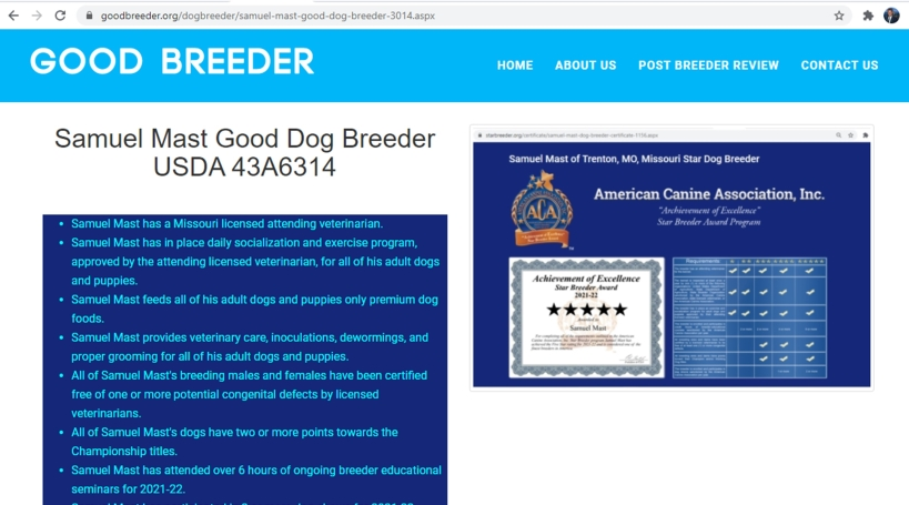 goodbreeder, samuel, mast, dog, breeder, homepage, trenton, mo, missouri, samuel-mast, usda, dog-breeder, 43-A-6314, 43A6314, pet, store, puppy, mill, puppymill, show, breeders, kennels, star, certificate, breeds