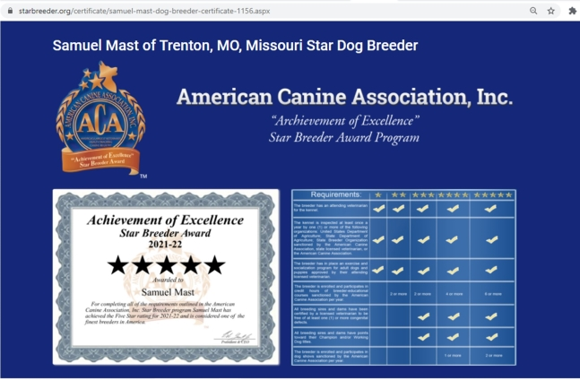 samuel, mast, dog, breeder, star, trenton, mo, missouri, samuel-mast, usda, dog-breeder, 43-A-6314, 43A6314, pet, store, puppy, mill, puppymill, show, breeders, kennels, star, certificate, breeds